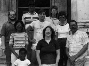 Cass House Community, mid 80's. Zach Davisson, Tommy Askew, Tim Pekarek, Audrey Tomkins, Emmett McAuliff, Carol Donohue, Jeffrey Tomkins, Janet Mckennis, Stanley Hackney